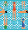 swimmers blue geometric background vector image