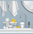 towels and bathing set on vector image vector image