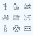 transportation icons line style set with pregnant vector image vector image