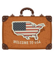 travel bag with map and flag usa vector image vector image
