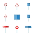 Warning road sign icons set cartoon style vector image vector image