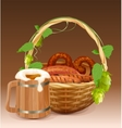 Wooden beer mug Wicker basket with pretzels and