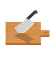 wooden cutting board and kitchen knife vector image