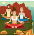 Yoga supporters practice on open air vector image vector image