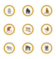 zoo monkey icons set cartoon style vector image vector image