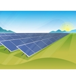Solar panels farm in green fields during sunrise vector image
