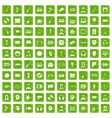 100 audience icons set grunge green vector image vector image
