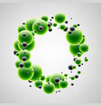 background with green and black bubbles vector image vector image