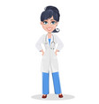 beautiful cartoon character medic standing with vector image vector image