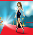 beautiful elegant woman on the red carpet vector image vector image