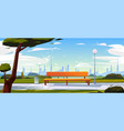 bench in park summer time landscape with city view vector image
