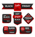 black friday sale red and black design vector image