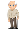 cartoon senior elderly old man vector image