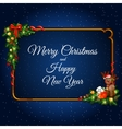 Christmas elements on dark blue background vector image vector image