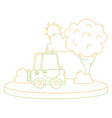 color line agrimotor car in the city with tree and vector image vector image