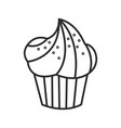 cupcake doodle hand drawn line vector image vector image