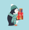 cute penguin wearing green hat and scarf with gift vector image