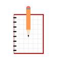empty notebook and pencil icon vector image vector image