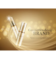 gold cosmetic bottles mockup on a gold background vector image vector image