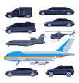 government vehicles set black presidential auto vector image vector image