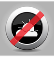 gray chrome button - no partly cloudy vector image vector image