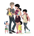 happy caucasian family with many children vector image vector image