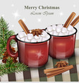 hot drink with marshmallow red cups vector image vector image
