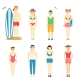Icons of kids in summer clothing and swimsuits vector image vector image