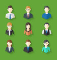 Icons Set of Male Female Faces in business theme vector image vector image