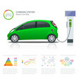 infographics and green electric car charging point vector image