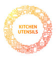 kitchen line icon circle concept vector image