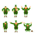 leprechaun set motion happy and sad angry and vector image