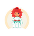 little caucasian redheaded girl carries or keeps vector image vector image