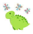 little dinosaur and butterflies vector image vector image