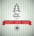 Merry Christmas and Happy New Year Xmas Card Tree vector image vector image