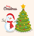merry christmas cheerful snowman with pine tree vector image