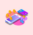 money transfer via cellphone in isometric vector image vector image