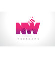 nw n w letter logo with pink purple color and vector image vector image