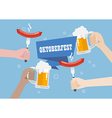 Oktoberfest with a glass of beer and sausage vector image vector image