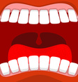 Open mouth Red lips and white teeth tongue and vector image vector image