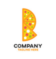 pizza and letter p logo vector image
