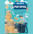postman at post office with mail letter parcel vector image vector image