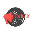 quick tips poster giving advice hand gesture and vector image vector image