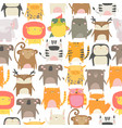 Seamless pattern with cute animals on white