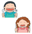 set of hungry people vector image vector image