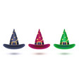 set witch hat with golden stars pattern design vector image vector image