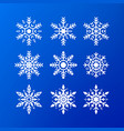 snowflake icon set white color snowflakes vector image