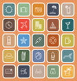 Summer line flat icons on orange background vector image vector image
