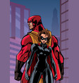 superhero couple in city vector image vector image