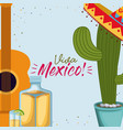 viva mexico colorful poster with guitar and cactus vector image vector image
